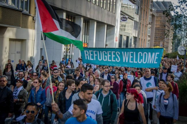 The march through Brussels in support of the refugees.