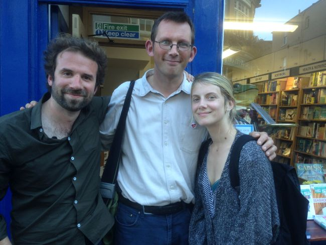 Melanie and Cyril visit Totnes to film for 'Demain'.