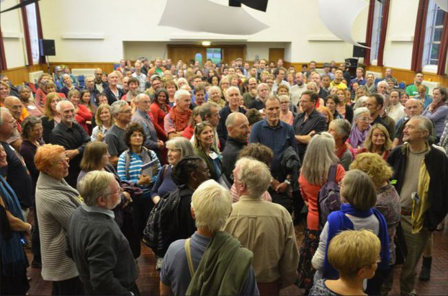 Mapping the room agewise - oldest this end, youngest that end. Photo: Mike Grenville.