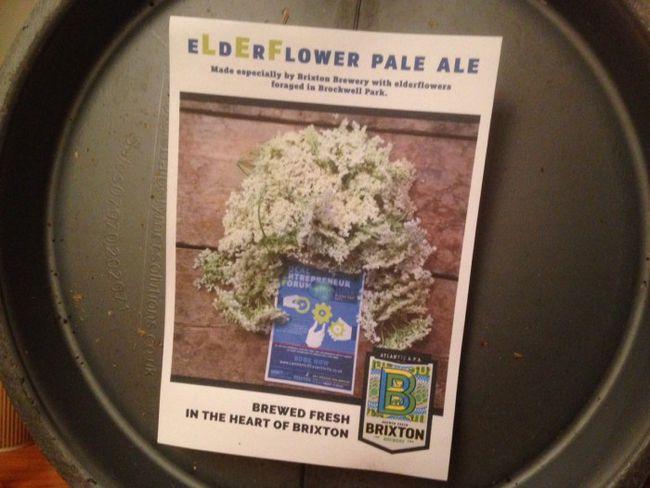 The exquisite eLdErFlower Pale Ale (geddit?) made by Brixton Brewery.