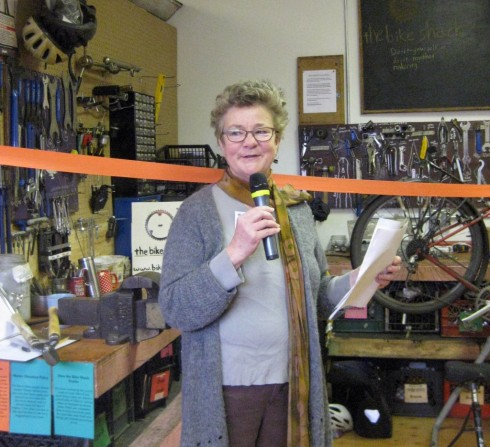 Susan Gregory at the opening of the NE Seattle Tool Library/