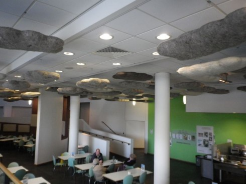 My own personal highlight of the tour: the woollen 'clouds' hanging from the ceiling in the Met Office canteen.