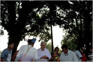 Brazil - Mayor of the City being blessed by indigenous people on the opening morning