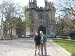 Alexis Rowell and myself in front of Lancaster Castle, now a prison.  Apparently more 'witches' were hung here than anywhere else in Britain (a while ago now though...)